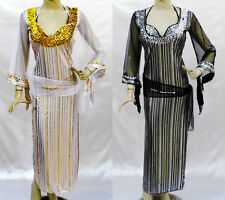 Belly Dance Egyptian Baladi Galabeya Dancing Dress Costume + Bra + Scarf