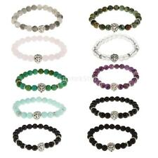 Mens Womens 8MM Natural Spacer Loose stone Beads Beaded Bracelet Jewelry Gift