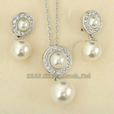 A1-S061 Rhinestone Pearl Earrings Necklace Jewelry Set 18KGP Crystal