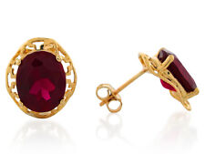 10k / 14k Yellow Gold Simulated Garnet Dazzling January Birthstone Post Earrings