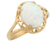 10k / 14k Yellow Gold Simulated Speckled White Opal Lovely Ladies Ring