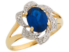 10k / 14k Two-Tone Gold Simulated Blue Sapphire September Birthstone Ring