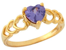 10k / 14k Yellow Gold Heart-shaped Simulated Amethyst Precious Heart Ladies Ring