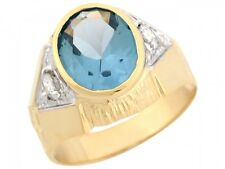 10k / 14k Two Tone Gold Simulated Blue Zircon White CZ Accents Mens Ring