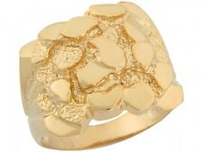 10k / 14k Solid Yellow Gold Brilliant Mens Nugget Ring