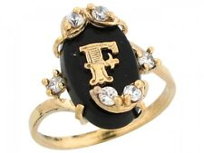 10k / 14k Real Yellow Gold Onyx Letter F Initial with CZ Accents Ring
