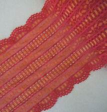 "3.4 - 4.3 Yards 6"" Wide Lovely Stretch Red Lace with Yellow Pattern 427"