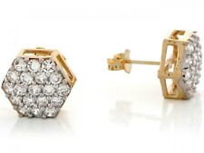 10k / 14k Yellow Real Gold White CZ Designer Fancy Elegant Womens Earrings