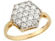 10k / 14k Yellow Real Gold White CZ Designer Fancy Elegant Womens Ring