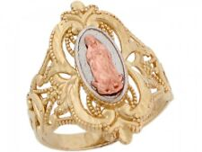 10k / 14k Tri Color Gold Virgin Mary Guadalupe Unique Design Religious Ring