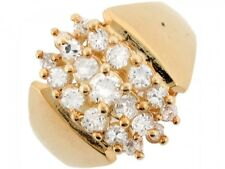 10k / 14k Real Solid Yellow Gold White CZ Cluster Fancy Ladies Ring