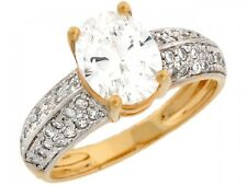 10k / 14k Two-Tone Gold Engagement Ring with Oval CZ Center and Pave Accents