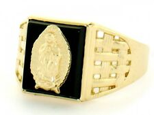 10k / 14k Solid Yellow Gold Guadalupe Onyx Mens Ring