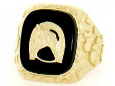 10k / 14k Solid Gold Nugget Onyx Lucky Horseshoe Mens Ring