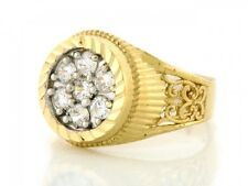 10k / 14k Solid Yellow Gold CZ Mens Cluster Filigree Ring