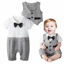 Baby Boy Wedding Christening Formal Party Tuxedo Suit Outfit+Vest Clothes Set