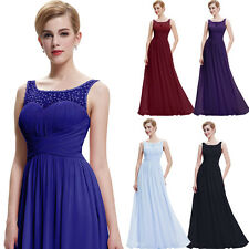 Beaded Long Evening Chiffon Party Prom Bridesmaid Formal Dresses Ball Gown Maxi