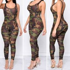 New Sexy Camouflage Camo Bodycon Jumpsuit Romper Catsuit V-Neck Army Comfy S-XL