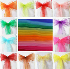 Wedding Party Chair Cover Bow Banquet Feast Organza Ribbons Sashes Sheer DIY