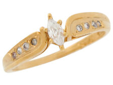 10k / 14k Yellow Gold White Marquise Cut CZ Classy Bypass Ladies Engagement Ring
