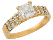 10k / 14k Solid Yellow Gold Channel Set Square CZ Ladies Classy Wedding Band