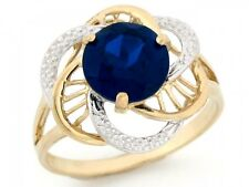 10k / 14k Two-Tone Gold Simulated Sapphire September Birthstone Ring