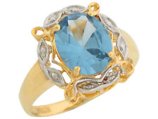10k / 14k Two-Tone Gold Simulated Aquamarine Lovely March Birthstone Ring