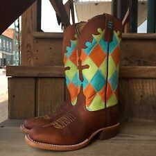HORSE POWER BY ANDERSON BEAN KIDS PATCHWORK HONEY CRAZY HORSE COWBOY BOOTS K7033