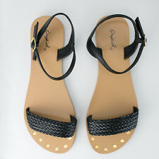 Women's Black Woven Open Toe Sandal Qupid Shoes Athena-990
