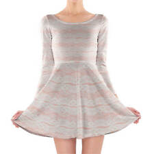 Lace on Pink Longsleeve Skater Dress XS-3XL