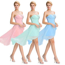 Sexy Strapless BEADED High Low Formal Prom Chiffon Party Dress Evening Long Gown