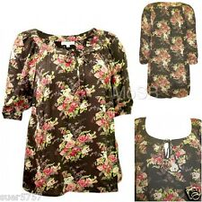 New Ann Harvey Green Chiffon Floral 3/4 Sleeve Casual Summer Top Size 14 - 24