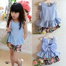 Baby Clothes Kid Tee Vest+Floral Pants 2pcs Set Fashion Toddler Girl Clothing