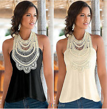 Summer Women's Vest Top Sleeveless Lace Blouse Casual Tank Tops T-Shirt Tee L16