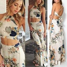 Women 2 Piece Set Sleeveless Dress Halter Backless Crop Tank Top+Long Maxi Skirt