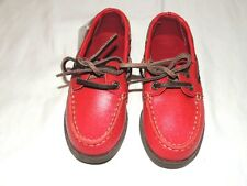 NEW Janie & And Jack Football Classic Red Leather Topsiders Shoes 6 11 12 13 1
