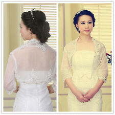 Short Sleeve Lace Shawl Bolero Wedding Jacket Bridal 3/4 Sleeve Ivory whtie new