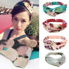 Womens Floral Retro Twisted Knotted Wire Headband Wired Head Wrap Hair Band NEW