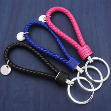 Braided PU Leather Strap Keyring Keychain Car Key Chain Ring Key Fob 2016