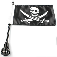 "Cool Motorcycle 15"" Flagpole Mount +  6.7"" X 11"" Skull Knife Pattern Flag Black"