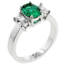 Rhodium Plated Emerald Triplet Cocktail Ring Green Cubic Zirconia Size 8 10 USA