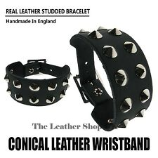 Black Gothic Punk Genuine Leather Conical Studded Cuff Bracelet Mens Wristband