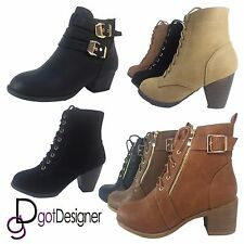 New Women's Round Toe Lace Up Wedge Low Heels Suede Ankle Boots Booties Size5-10