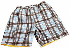 Boys Shorts Swim Shorts Checked Blue Brown NEW Size Age 4 Years