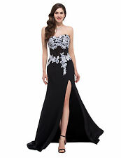 Strapless HighSplit Chiffon Ball Gown Evening Prom Party Dress Black Lace Flower