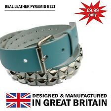 New Handmade Pyramid Studded Removable Buckle 100% Real Leather Belt UK Made
