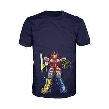 Power Rangers Megazord Deco Official Mens Navy Ladies T-Shirt