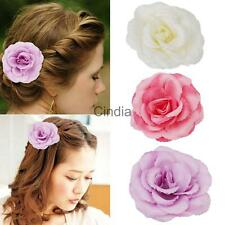 Charm Fabric Flower Hair Clip Pin Brooch Stick Wedding Party Bridal Hair Jewelry