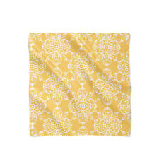 Yellow Retro Damask Satin Style Scarf - Bandana in 3 sizes