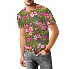 Tropical Vintage Florals Mens Cotton Blend T-Shirt XS-3XL All-Over-Print